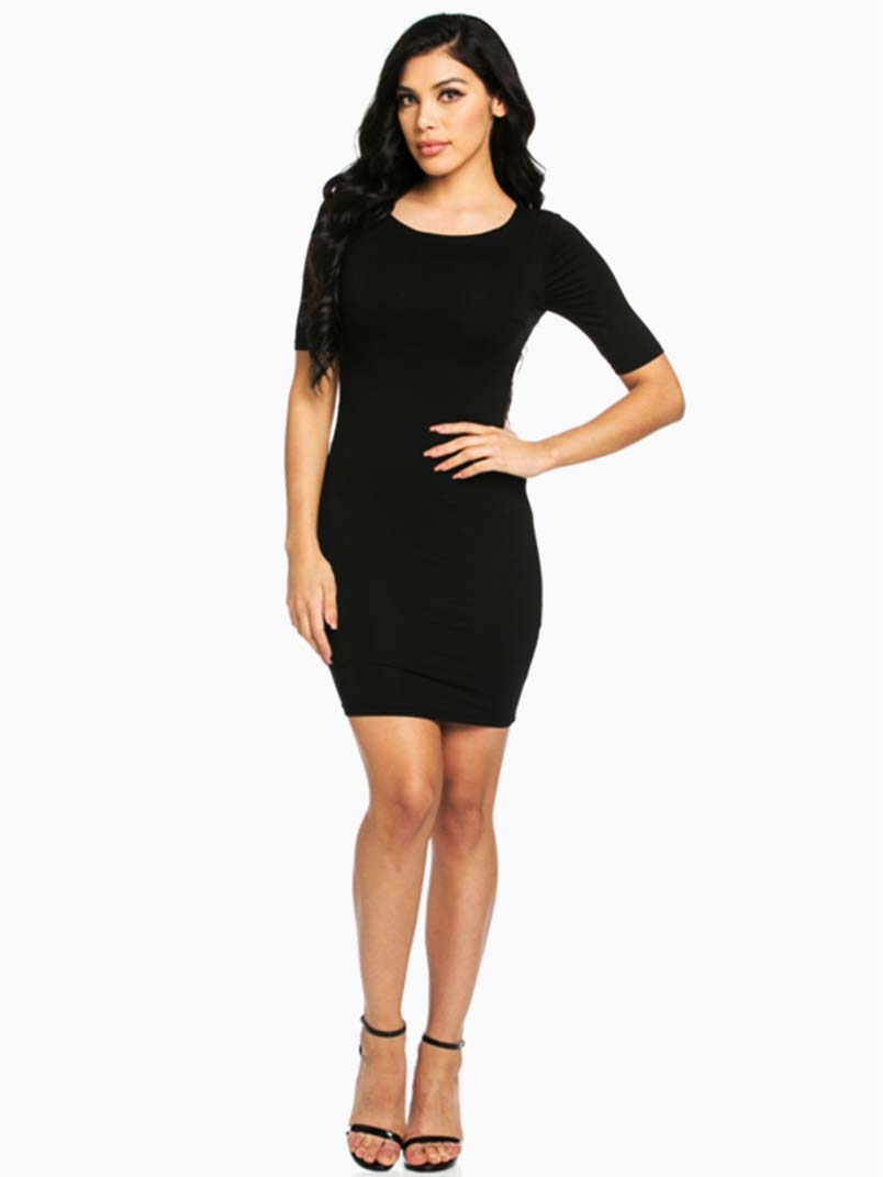Hera Collection Black Modal Short Sleeve Mini Dress