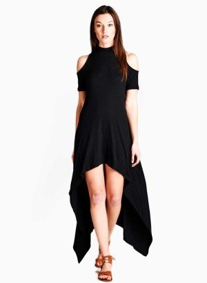 Mock Neck Hi-Low Dress