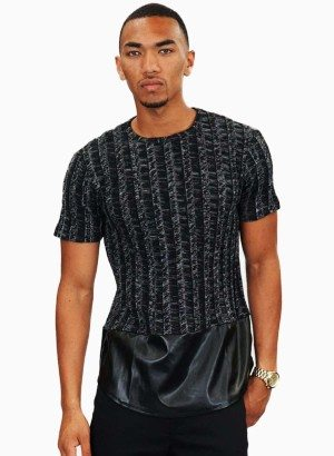 Plumbing M.i.U Black Knit Faux Leather Short Sleeve Shirt