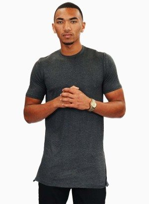 Charcoal Short Sleeve Long-line Shirt