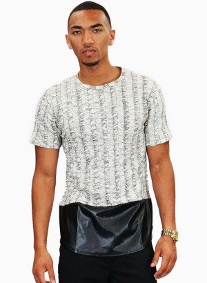 Plumbing M.i.U Ivory Knit Faux Leather Short Sleeve Shirt