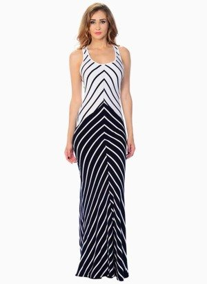Striped Crossed Back Maxi Dress