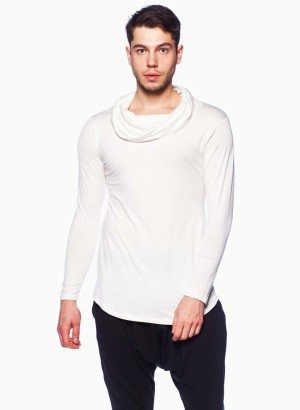 White Cowl Neck Shirt