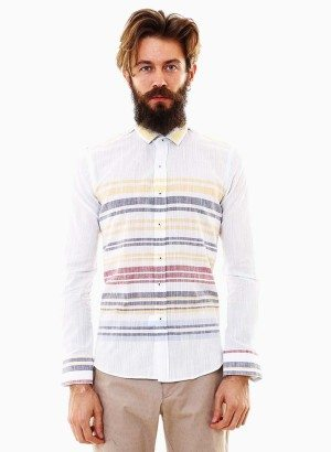 Wessi White Striped Button-Up Shirt