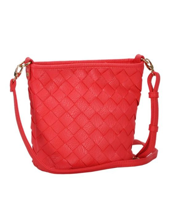 Madison West Coral Woven Cross-Body Bag