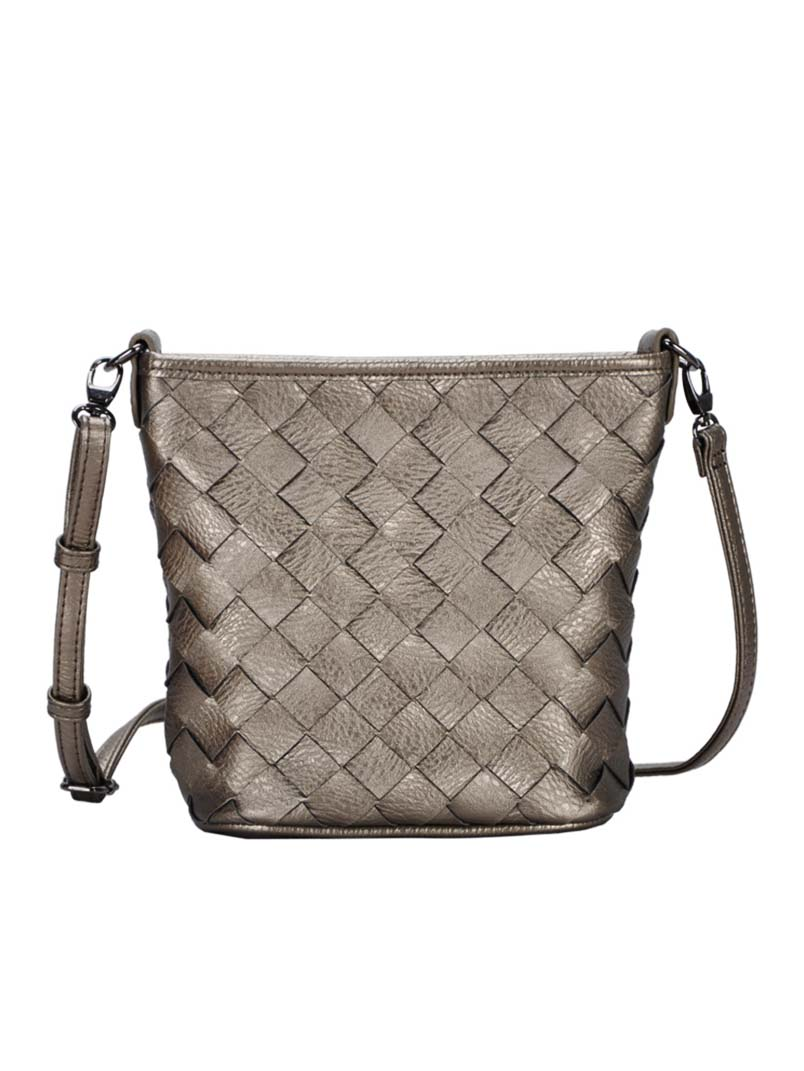 Madison West Pewter Woven Cross-Body Bag