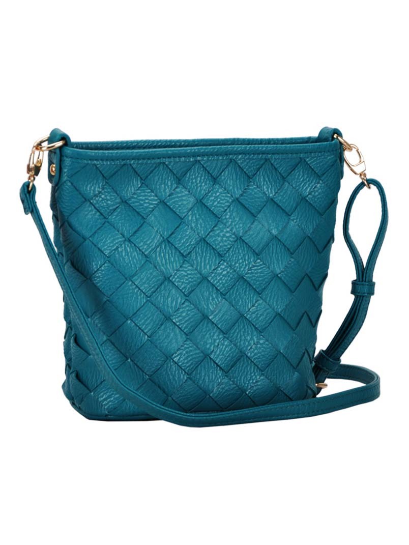Madison West Teal Woven Cross-Body Bag