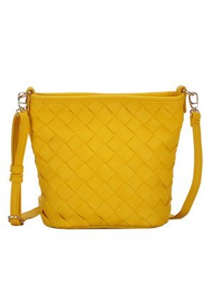 Madison West Yellow Woven Cross-Body Bag