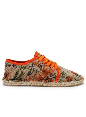 Hibiscus Orange Canvas Lace-Up Shoe