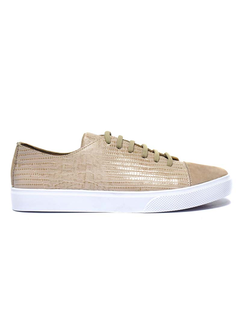 KAANAS Atacama Latte Sneaker. Lizard-embossed Lace-up Sneaker.