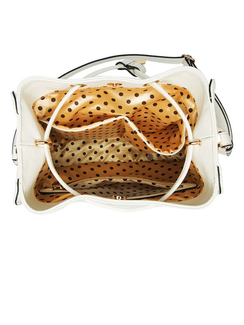 Melanie Bianco White Alexandra Bucket Bag