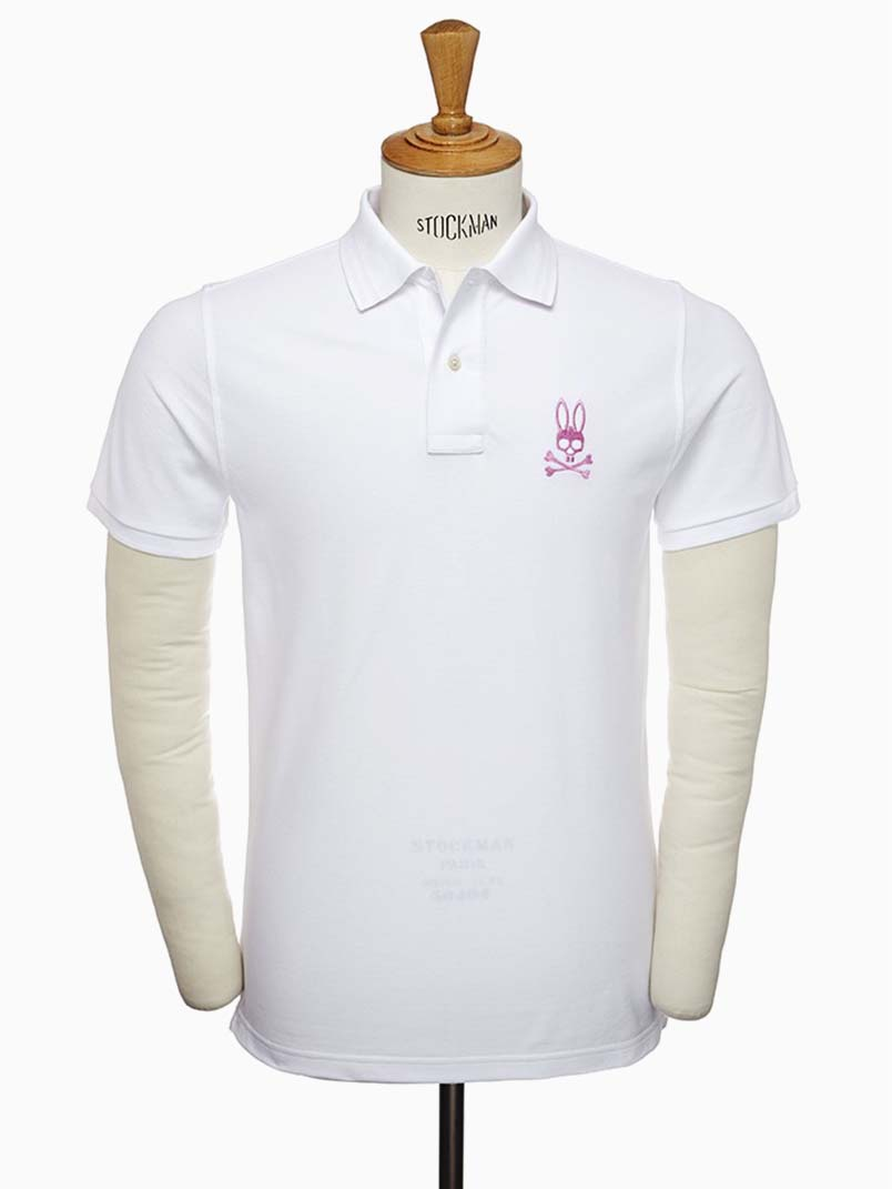 Psycho Bunny White Tall Bunny Polo