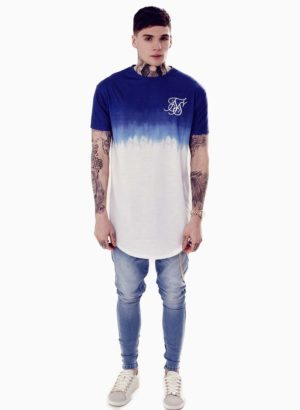 SIKSILK Blue & White Dip Dye Curved Hem Tee