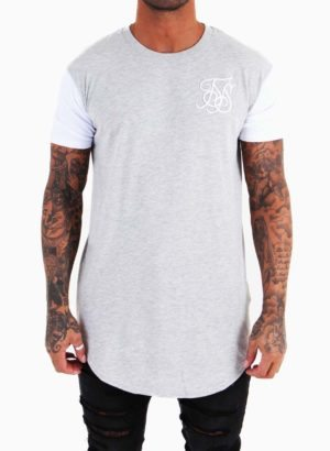 SIKSILK Grey Curved Hem Tee