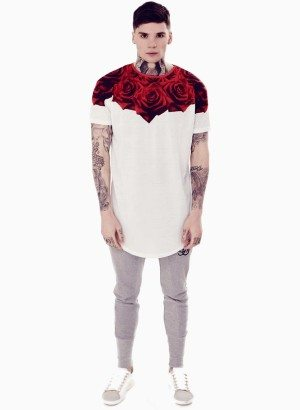 Rose White Curved Hem Tee
