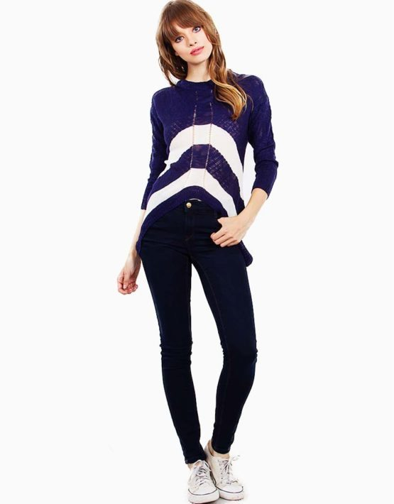 SUGARLIPS Navy Sasha Stripe Sweater