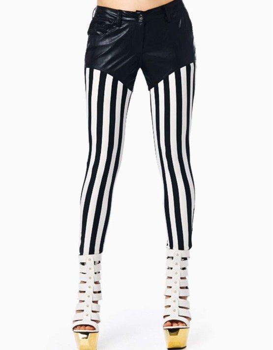 TOV Jester Leggings, Black & White Striped Leggings