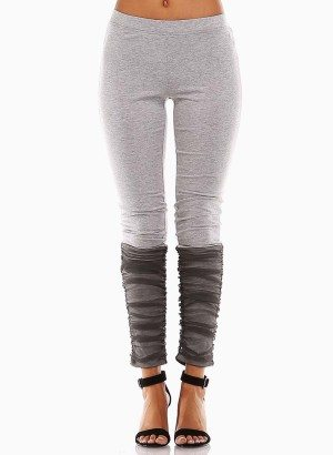 TOV Grey Mesh Bottom Leggings