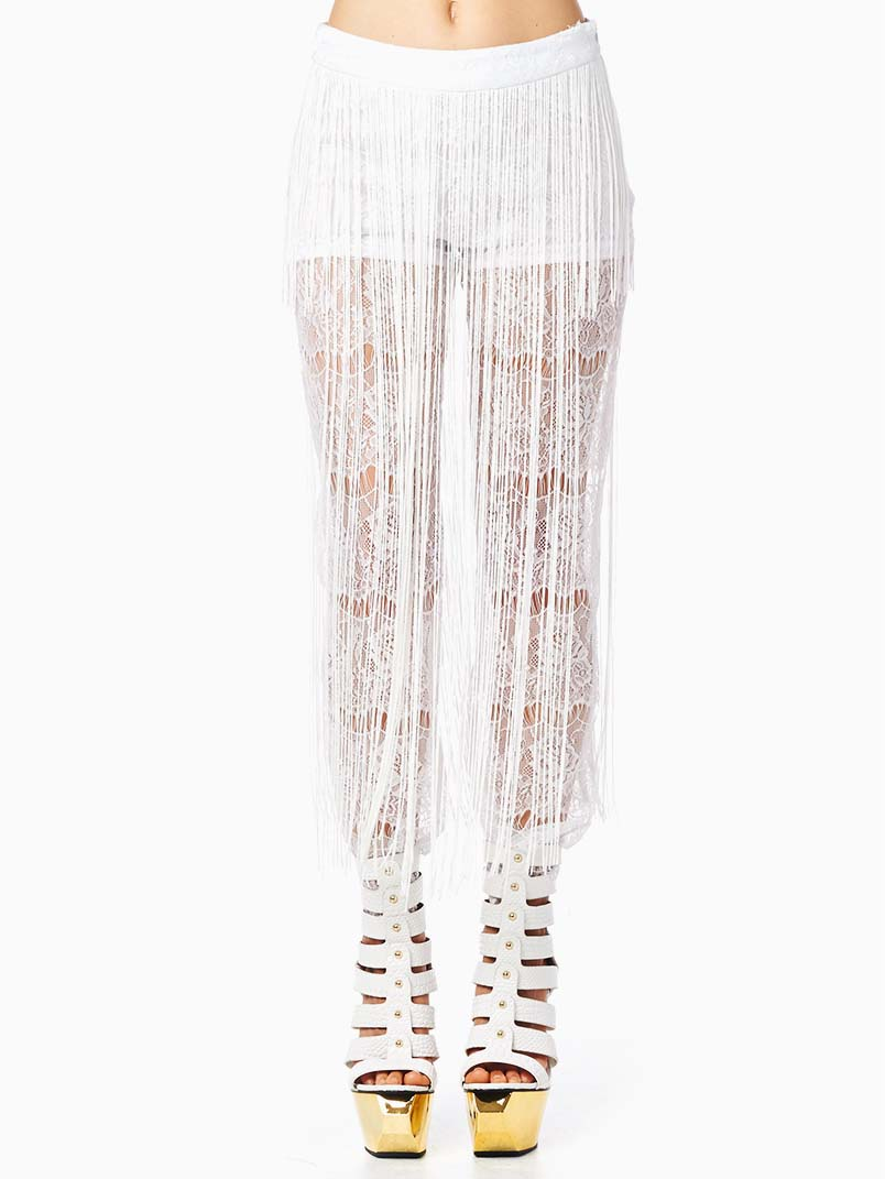 TOV White Fringe Leggings