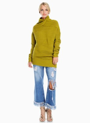 Mustard Chunky Cowl Neck Sweater
