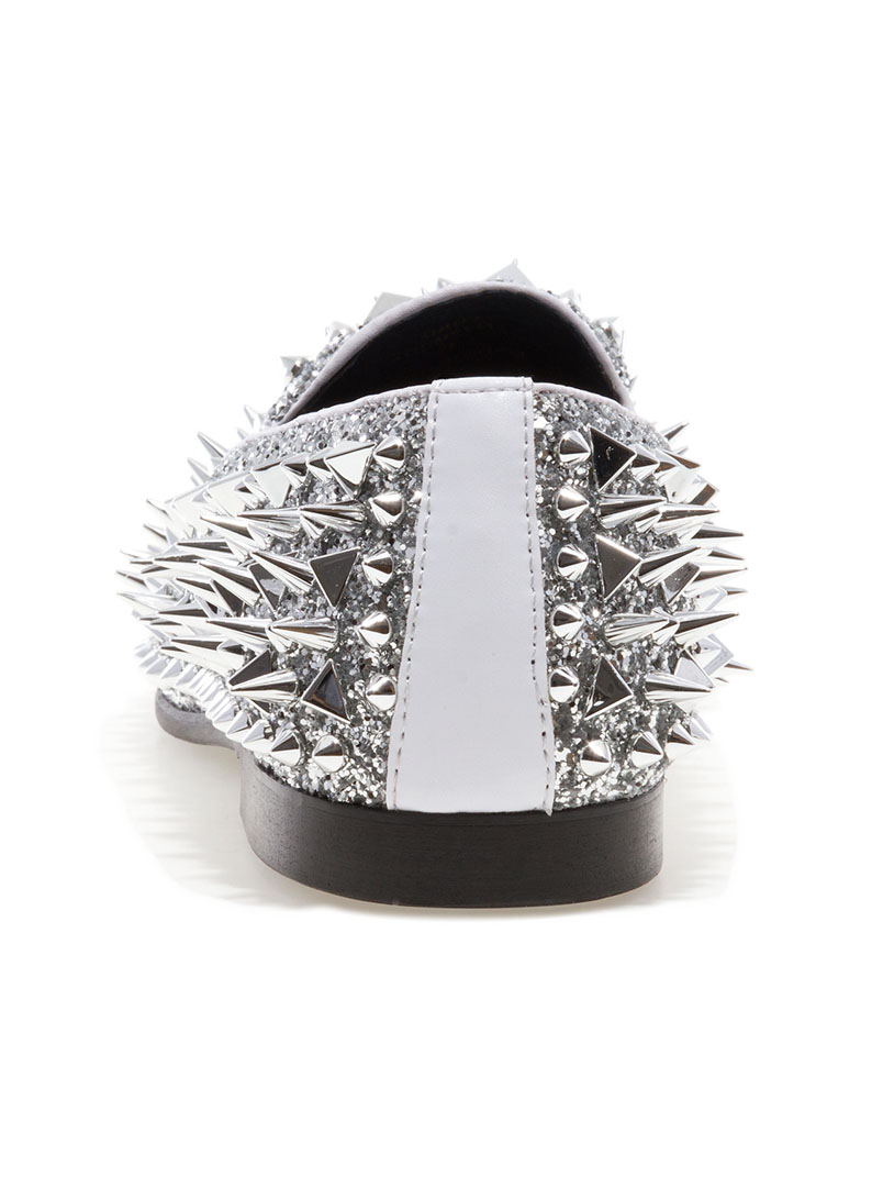 Jump Newyork Lord Silver Spike Loafers Modishonline Com