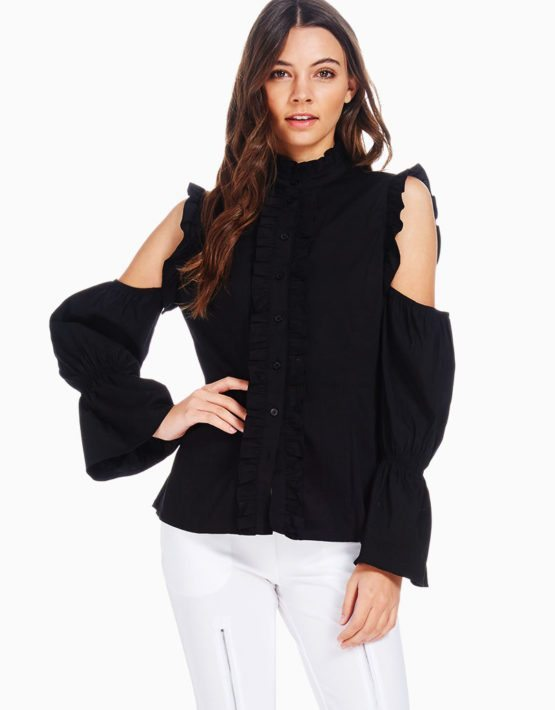 TOV Black Cold Shoulder Baroness Blouse