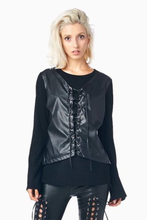 TOV Black Faux Leather Tie Top