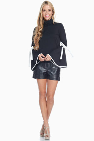 TOV Black Trumpet Turtle Neck Blouse