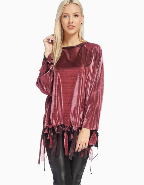 TOV Pink Front Ribbon Blouse