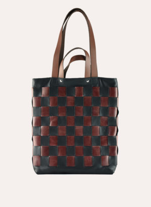 Kiko Leather Black Checkered Tote