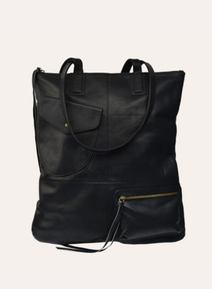 Kiko Leather Black Fold N Hold Tote