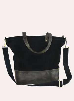 Kiko Leather Black Suede Boyfriend Tote