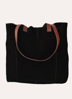 Kiko Leather Black Suede PCH Tote