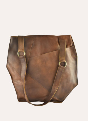 Kiko Leather Brown Cross Over Tote