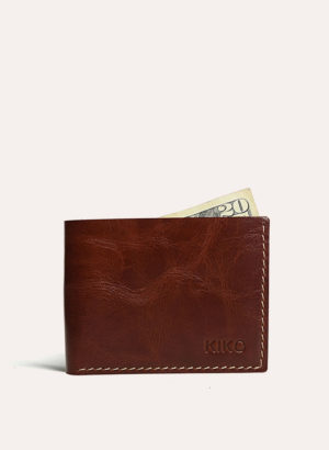 Kiko Leather Cognac Bifold ID Wallet
