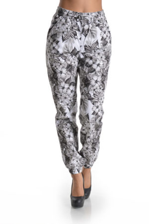 American Bazi Plus Size Tropical Print Twill Joggers