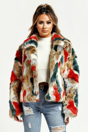 Taupe Multi Color Fur Jacket