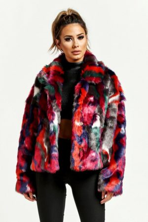 Berry Multi Color Fur Jacket