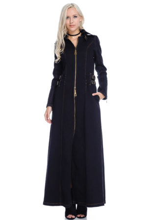 TOV Black Denim Maxi Coat