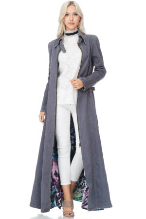 TOV Grey Denim Maxi Coat