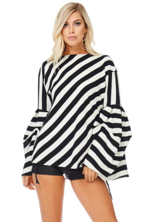 TOV White Black Striped Bishop Blouse