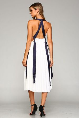 Paper Racine White Pleated Maxi Dress