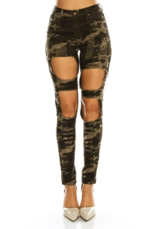 American Bazi Camo High Rise Destroyed Jeans