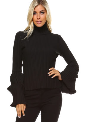 TOV Black Turtleneck Tube Top