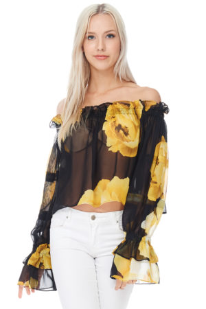 TOV Yellow Chiffon Belle Blouse