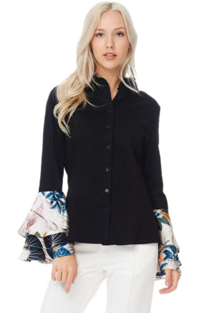 TOV Black Trumpet Cuffs Blouse