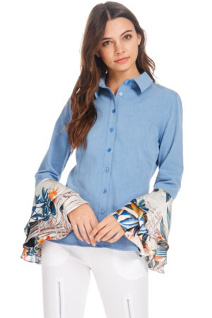 TOV Blue Trumpet Cuffs Blouse