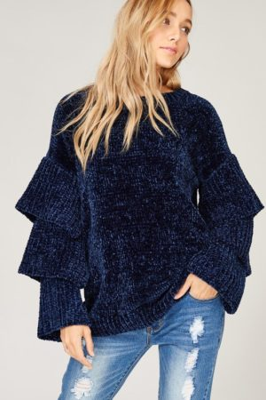 Navy Velvet Yarn Knit Sweater