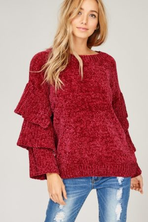 Wine Velvet Yarn Knit Sweater
