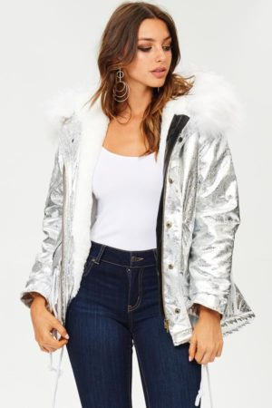 Blue Elephant Silver Metallic Jacket